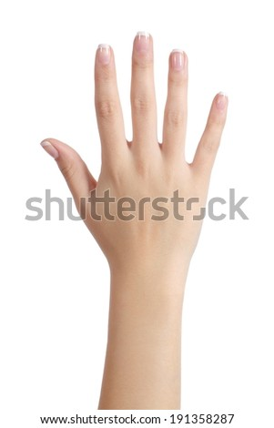 Woman open hand with french manicure isolated on a white background - stock photo