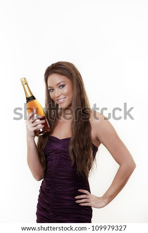 woman opening a bottle of pink champagne shot on a white background - stock photo