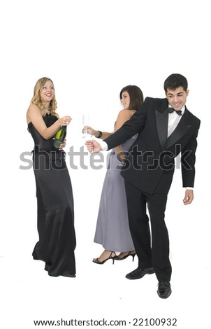 woman opening a champagne bottle at a new year party - stock photo