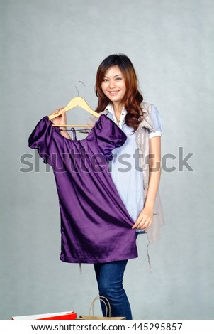 Woman or asian woman buying a clothing - stock photo