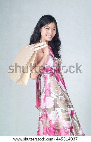 Woman or chinese woman happy face smiling - stock photo