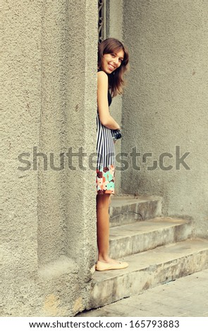 woman outdoors - stock photo