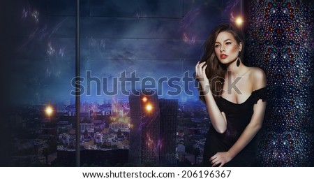 Woman over Futuristic Urban Background of Night City. Fantasy - stock photo