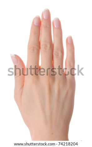 Woman palm on white background isolated - stock photo