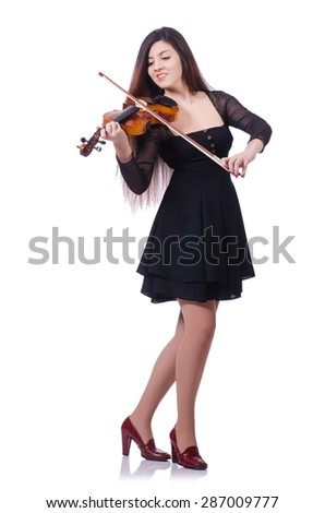 Woman performer playing violin on white - stock photo