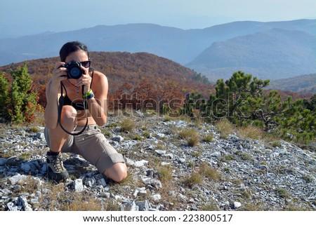 woman photographer - stock photo