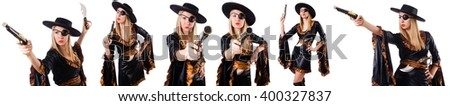 Woman pirate in various poses on white - stock photo