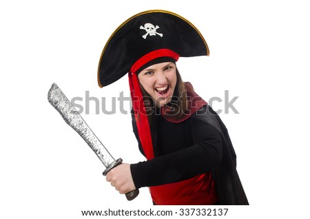 Woman pirate isolated on white - stock photo