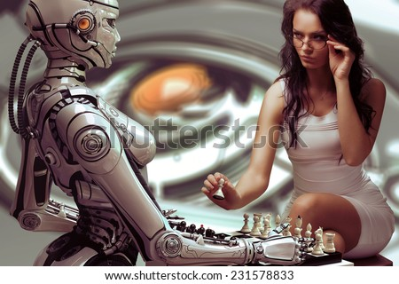 Woman Playing Chess with Fembot Robot - stock photo