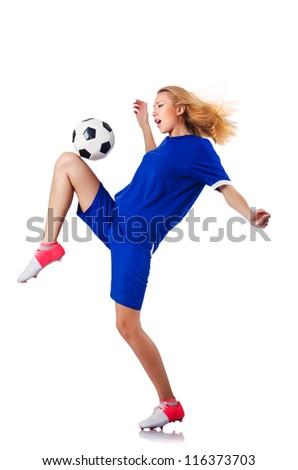 Woman playing football on white - stock photo