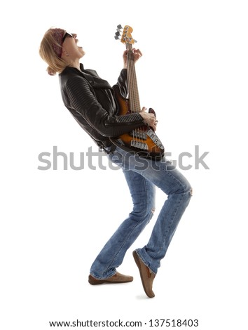 Woman playing guitar isolated on white - stock photo