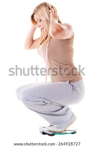 woman plus size large girl on scales measuring her weight controlling, studio shot isolated on white - stock photo