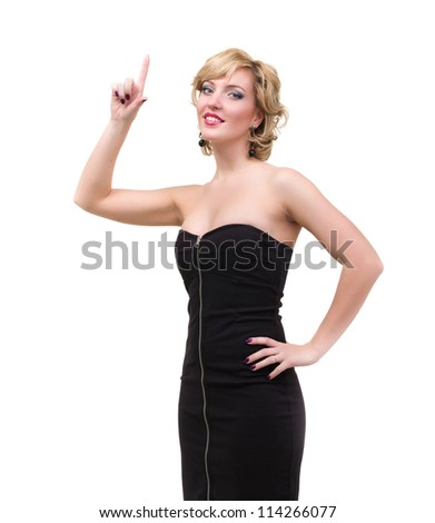 Woman pointing finger up, isolated on white - stock photo