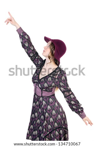 Woman pointing finger up on white background - stock photo