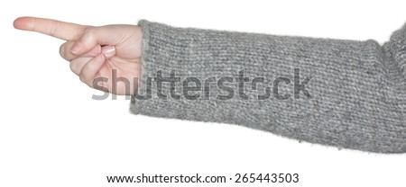 Woman pointing with index finger - stock photo