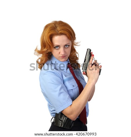 Woman police officer with handgun on white background in square - stock photo