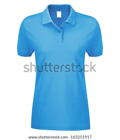 Woman Polo Shirt blue isolated on white - stock photo