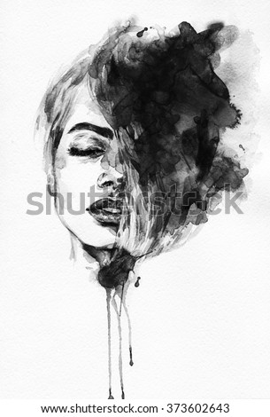 woman portrait .abstract watercolor .fashion illustration - stock photo
