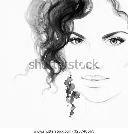 woman portrait .beauty background .abstract watercolor .fashion background - stock photo