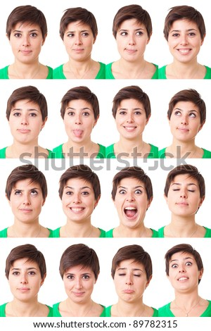 Woman Portrait, Collection of Expressions - stock photo