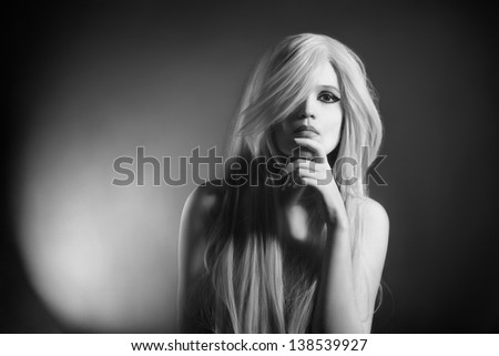 Woman portrait fashion model. Beautiful blonde in black and white - stock photo