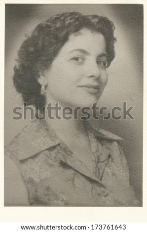 Woman portrait from 1950's - stock photo