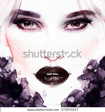 woman portrait with flowers .abstract watercolor .fashion illustration - stock photo