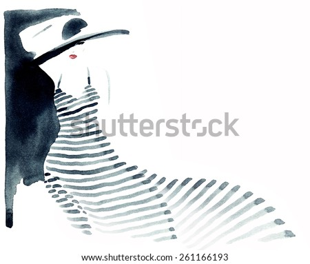 woman portrait with hat .abstract watercolor .fashion illustration - stock photo
