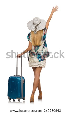 Woman preparing for summer vacation isolated on white - stock photo