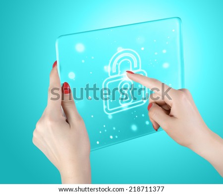 woman pressing on the Lock button - stock photo
