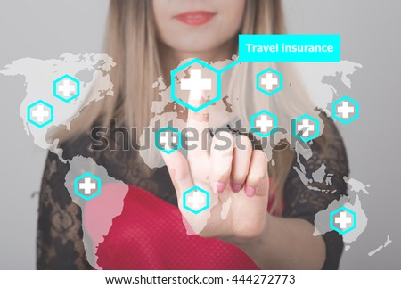 Woman pushing button with cross map travel insurance web icon. business, technology and internet concept in tourism - stock photo