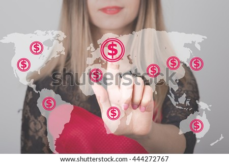 Woman pushing button with dollar map currency web icon. business, technology and internet concept - stock photo