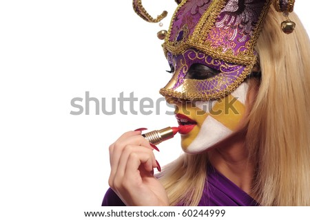 woman put on lipstick, isolated on white - stock photo