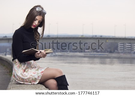 Woman read the book  - stock photo