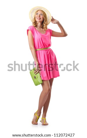 Woman ready for beach on white - stock photo