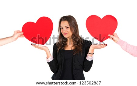 Woman receiving red hearts - stock photo