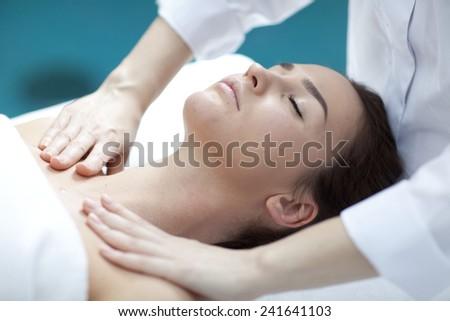 Woman receiving spa treatment  - stock photo