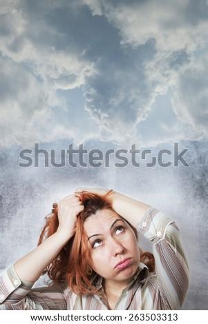 Woman regret - stock photo