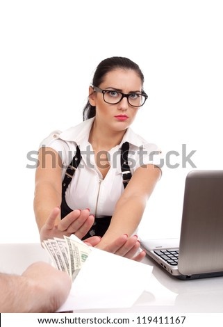 Woman rejecting money in envelope - stock photo