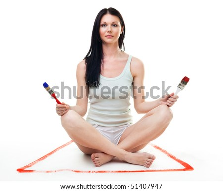 Woman relax from renovation and repaint hard work - stock photo
