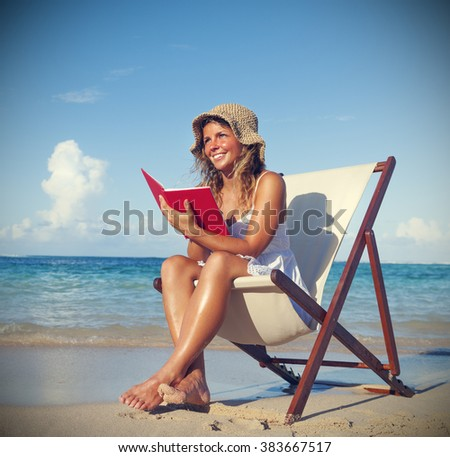 Woman Relaxing on the Beach Tranquil Tropical Concept - stock photo