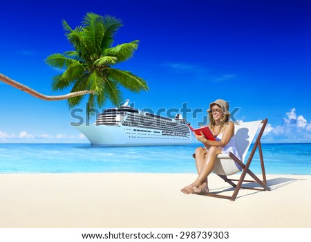 Woman Relaxing Summer Beach Holiday Concept - stock photo