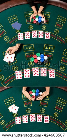 Woman relies, reveals the card wins and takes the chips. - stock photo