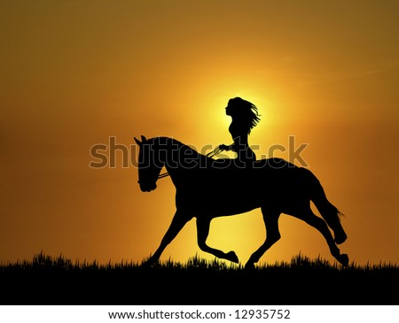 woman riding horse at sunset - stock photo