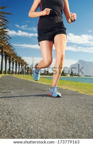 Woman running for fitness marathon exercise training - stock photo