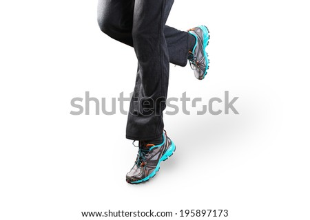 Woman running isolated on white background - stock photo