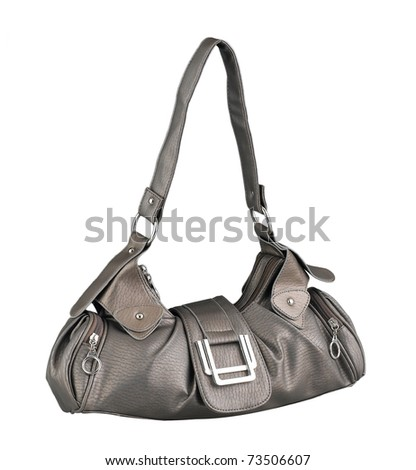 Woman's accessory leather handbag isolated - stock photo