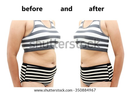 Woman's body before and after a diet - stock photo