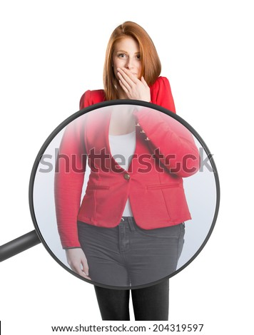 Woman's body magnified with magnifying glass - stock photo