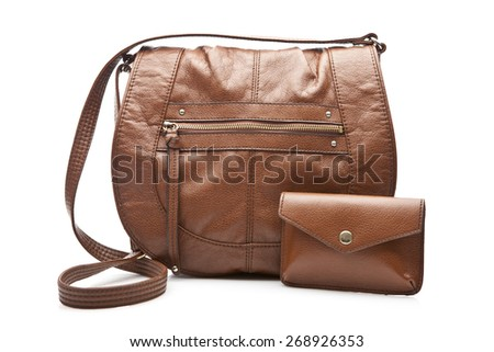 Woman's brown bag and wallet over white - stock photo